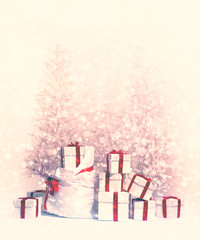 Christmas trees with heap of gift boxes