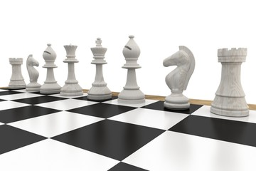 White chess pieces in a row