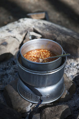 Baked beans on Camping Kitchen