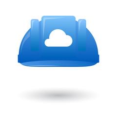 Blue work helmet wit a cloud sign