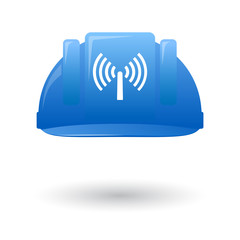 Blue work helmet with a wifi antenna