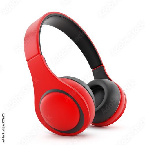 Leinwandbild Motiv Red headphones