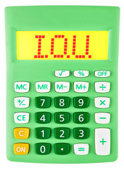 Calculator with I.O.U. on display isolated on white background