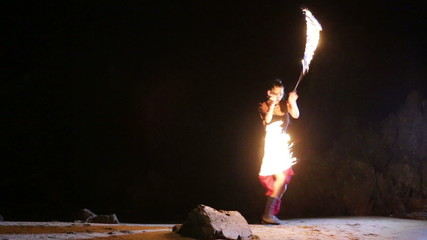 Artist turns the fiery fire-snakes fire performance