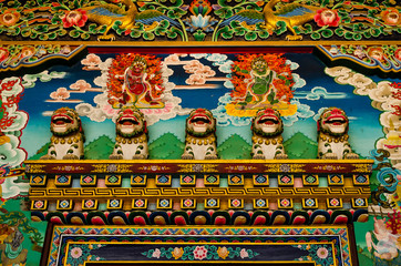 Fragments of the decoration of the temple of Nepal