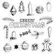 Christmas hand drawn doodles for xmas design. With decoration, V