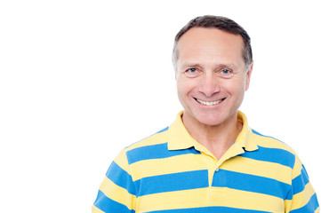 Smiling senior man isolated over white