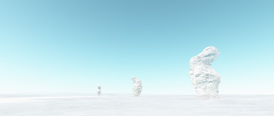 Abstract strange winter landscape with white snowy rocks and blu