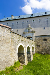 Main gate and massive bridge over dry moat at Cerveny Kamen Cast