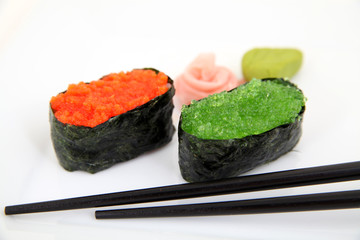 Sushi gunkan with caviar, tobiko. Traditional japanese food