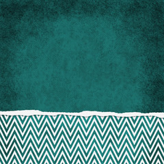Square Teal and White Zigzag Chevron Torn Grunge Textured Backgr