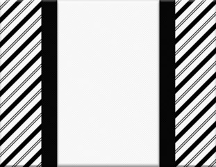 Black and White Striped Frame with Ribbon Background