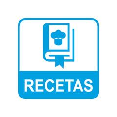 Etiqueta tipo app azul RECETAS
