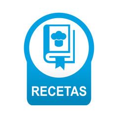 Etiqueta tipo app azul redonda RECETAS