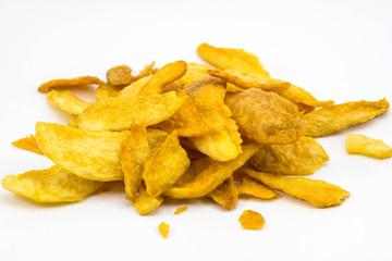 Mango chips on white background