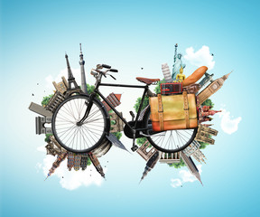 Travel and vacation, Biking and world landmarks