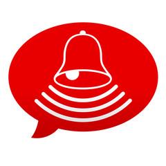 Etiqueta tipo app roja comentario simbolo timbre de alarma