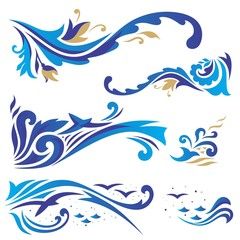 Arabic ornaments with waves