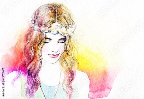 woman portrait  .abstract  watercolor .fashion background - 69076602