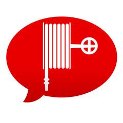 Etiqueta tipo app roja comentario simbolo manguera
