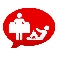 Etiqueta tipo app roja comentario simbolo manta antiincendios