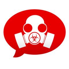 Etiqueta tipo app roja comentario simbolo mascara biohazard