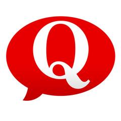 Etiqueta tipo app roja comentario simbolo Q