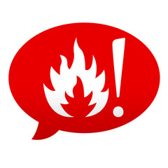 Etiqueta tipo app roja comentario simbolo superficie caliente