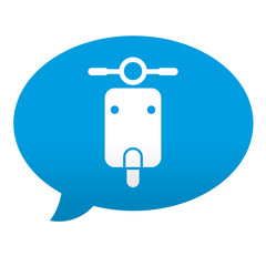 Etiqueta tipo app azul comentario simbolo escuter vista frontal