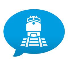 Etiqueta tipo app azul comentario simbolo estacion de tren