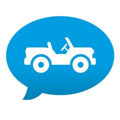 Etiqueta tipo app azul comentario simbolo jeep