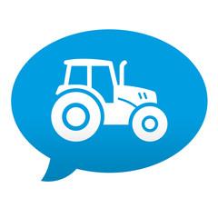 Etiqueta tipo app azul comentario simbolo tractor