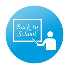 Etiqueta tipo app azul redonda BACK TO SCHOOL
