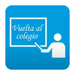 Etiqueta tipo app azul Vuelta al colegio
