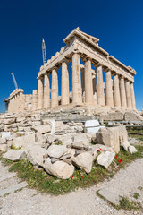 The southern side of the Parthenon being restored, Athens Greece