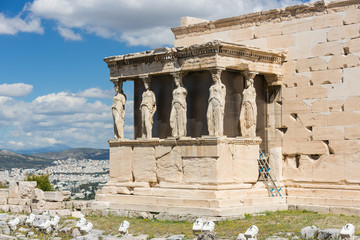 Detail of the south porch of Erechtheion with the Caryatids