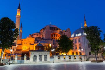 Night view of Hagia Sofia, Istanbul Turkey