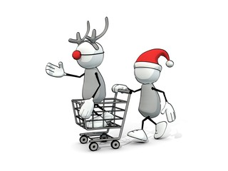 little sketchy man with santa hat and reindeer in a cart
