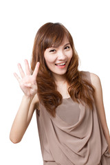 friendly, smiling, positive, happy woman showing 4 fingers