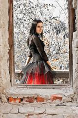 Beautiful Goth Girl in Window