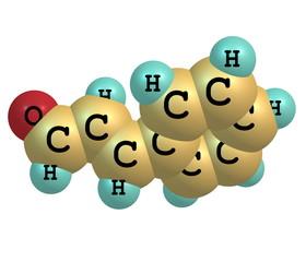 Cinnamaldehyde molecule isolated on white