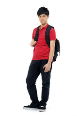 Full body casual young student with backpack