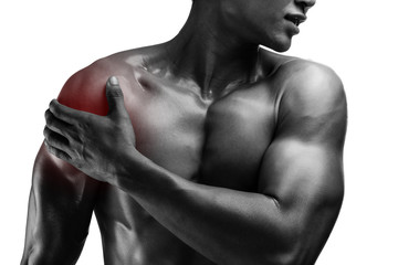young muscular man with shoulder pain , isolated on white backgr