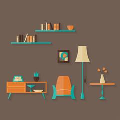 Flat furniture set over brown