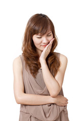 woman suffers from toothache pain