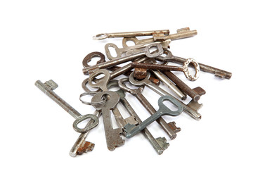Old keys isolated on a white background.