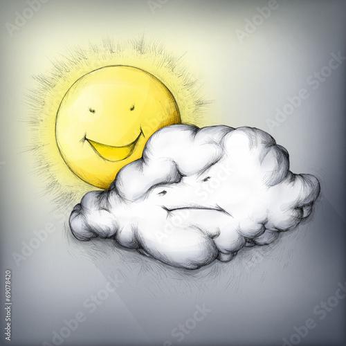 canvas print picture Sonne gegen Wolke