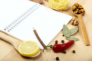 Notebook for recipes, vegetables and spices.