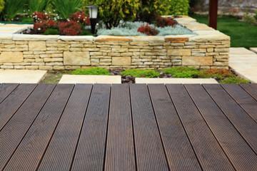 Wood floor over background beautiful modern decorative garden de