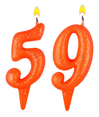 Birthday candles number fifty nine isolated on white background